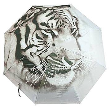 BuyYourWish Tiger - Paraguas antirayos UV, 3 pliegues, pintura al óleo, lluvia,
