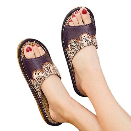Frescas Dama Lino Antideslizante Sala Inferior Mujeres de casa de Verano TELLW Zapatillas Espesor Zapatos Moradas Interior de de Zapatillas de Cuero Masculina vaxZw8
