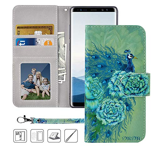 Galaxy Note 8 Wallet Case,Galaxy Note 8 Case, MagicSky Premium PU Leather Flip Folio Case Cover with Wrist Strap, Card Holder, Cash Pocket, Kickstand for Samsung Galaxy Note 8(Green Peacock)