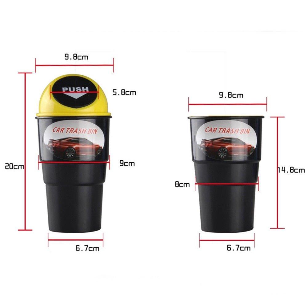 Easyinsmile Car Trash Bin Mini Rubbish Bin Can Carbage Dust Case Storage Holder Black