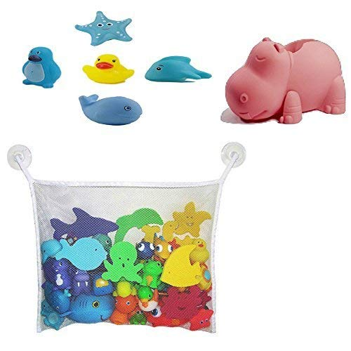 Bath Toys Organizer For Kids Bath Toys With Faucet Cover (Melon Hippo) by Aurelie Live Well from Aurelie Live Well