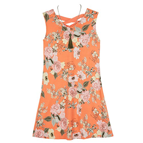 Amy Byer Girls' Big Everyday a-Line Dress with Necklace, Orange/Multi Wildflowers, L