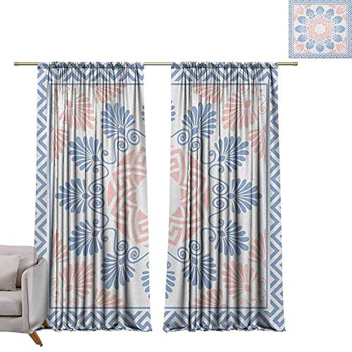 berrly Grommet Blackout Curtains Greek Key,Pastel Pink White and Blue Round Floral Grecian Fret Hellenic Ornament, Baby Blue Blush White W84 x L96 Art Drapery Panels