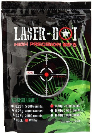 Laser Dot 2500 Count  30G White 6Mm Airsoft Bbs   Biodegradable Competition Grade Seamless Plastic  Balls