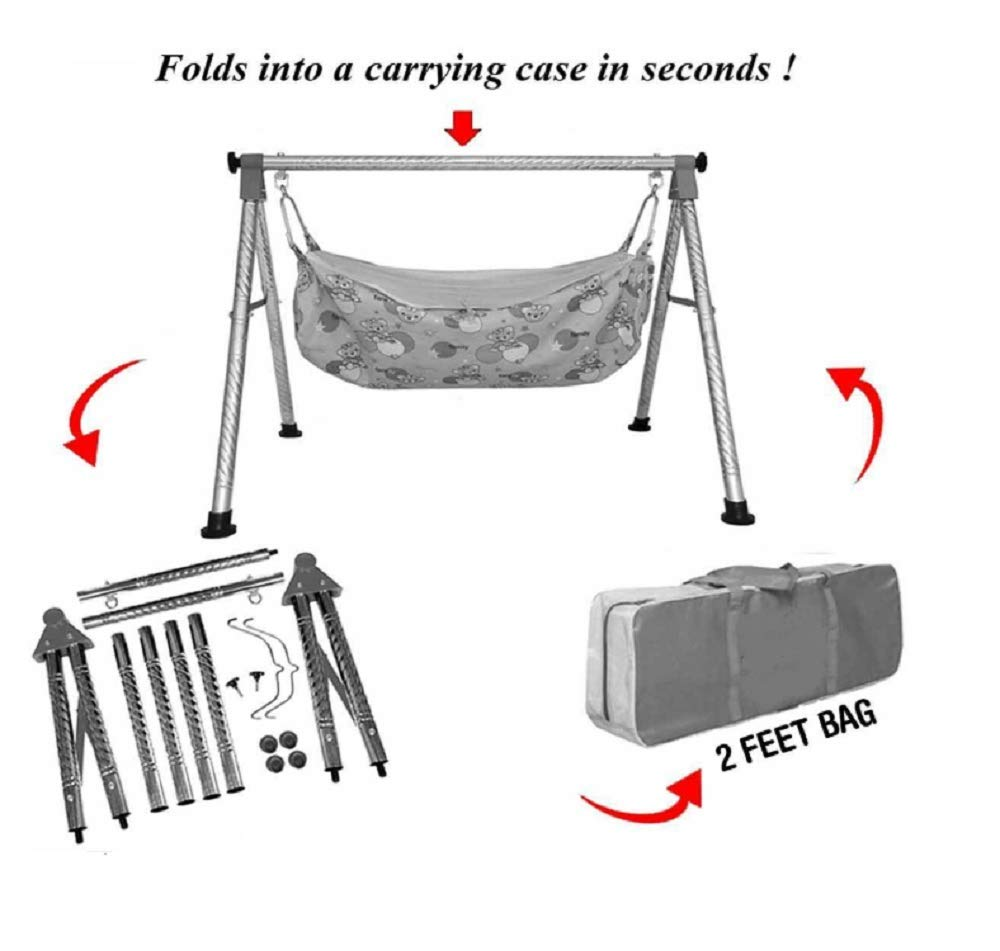 EverEx Folding Stainless Steel Indian Style ghodiyu palna Swing Cradle jhula for Born Baby with Hammock. Pink