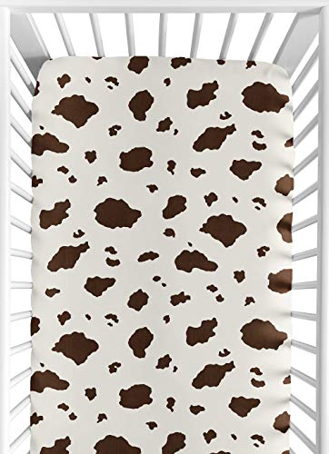 (Wild West Cowboy Fitted Crib Sheet for Baby and Toddler Bedding Sets by Sweet Jojo Designs - Cow Print)