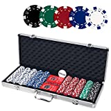 Casino Poker Set with Aluminum Case, Including 500pcs 11.5 Gram Chips, 5 Dice, 2 Decks of Playing Cards, Dealer Button.