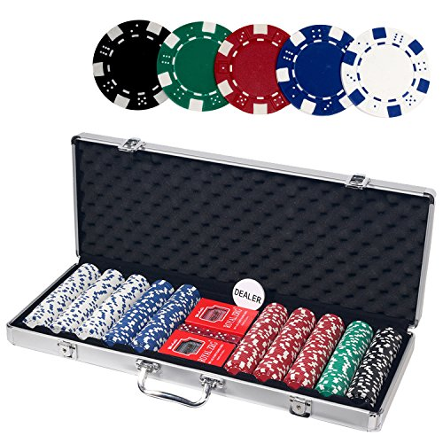 Casino Poker Set with Aluminum Case, Including 500pcs 11.5 Gram Chips, 5 Dice, 2 Decks of Playing Cards, Dealer Button. by ALPS