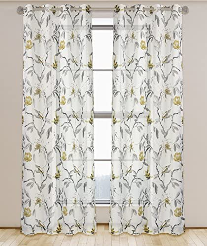 LJ Home Fashions 547 Andi Semi Sheer Floral Botanical Voile Grommet Curtain Panel Set