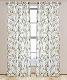 Cheap LJ Home Fashions 00547 Andi Floral Botanical Semi Sheer Grommet Curtain Panels (Set of 2) 54×95-in, White/Grey/Black/Ecru