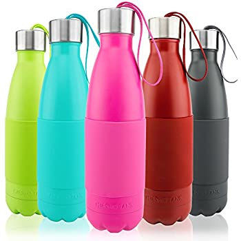 Thermo Tank Insulated Stainless Steel Water Bottle - Ice Cold 36 Hours! Vacuum + Copper Technology - Carry Loop Lid, Silicone Grip - 17 Ounce (Pink, 17oz)