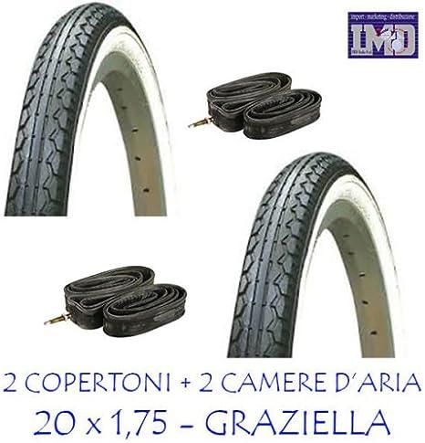 2 x cubiertas + 2 x cámaras de aire ideales para bicicleta Graziella 20 x 1,75 / color blanco-negro - Cubiertas y cámaras de aire para bicicleta: Amazon.es: Deportes y aire libre