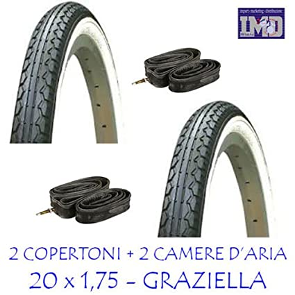 2 X Copertoni 2 X Camere Daria Ideale Bicicletta Graziella 20 X 175 Bianco Nero Copertone Bicicletta Camera Daria Bicicletta