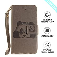 LIKESEA Panda Wallet Case for Samsung Galaxy S6, Premium PU Leather Protective Flip Cover with Card Slots, Magnetic Closure and Stand Function, Gray