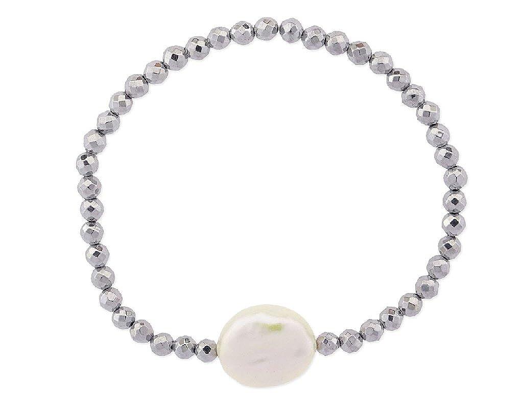 74bc15ae3284 LISKA LP1001BR-G LP1001BR-G pulsera de mujer de hematites y perla natural  MUJER  Amazon.es  Joyería