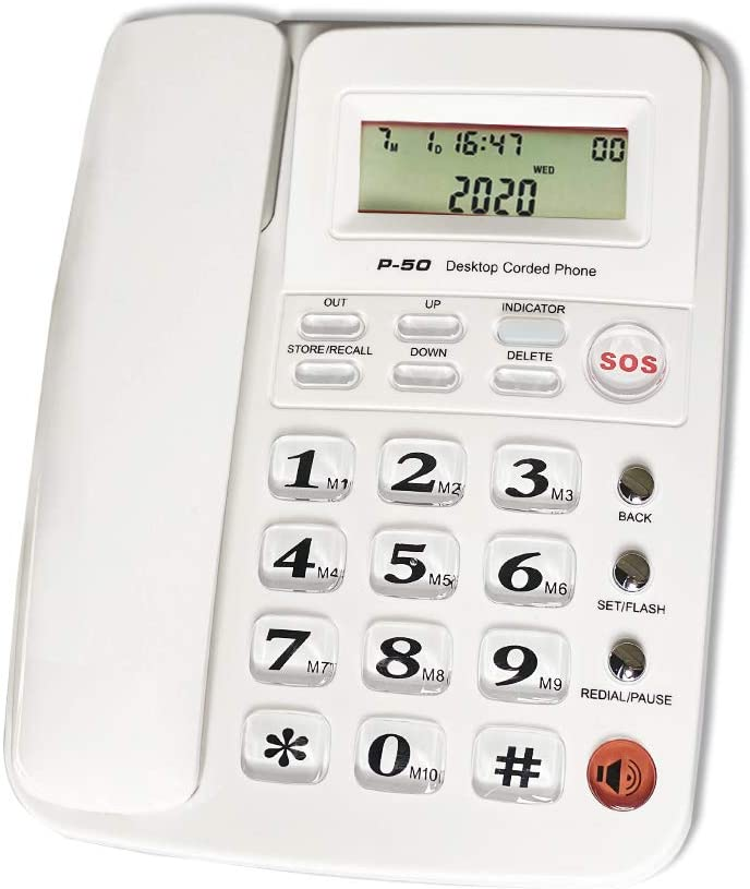 Corded Phone with Caller ID, HePesTer P-50 Wired Landline Phone for Home Elderly Phone with Big Button Amplified Speakerphone for Seniors SOS Emergency/Speed Dial/Sleep Time (White)