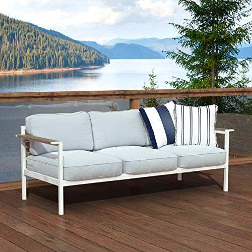 Outdoor Steel and Wood Framed Sofa with Cushions