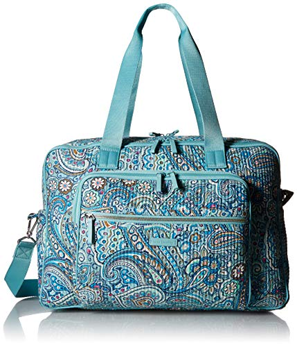 Vera Bradley womens Iconic Deluxe Weekender Travel Bag, Signature Cotton, Daisy Dot Paisley, One Size (Weekender Paisley Bag)
