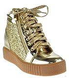 Foever Regan 14 Womens Glitter Lace up Zipper Sneaker Gold 6
