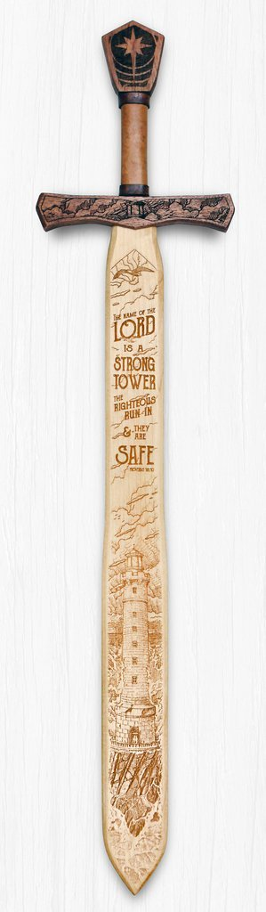 The Name of The Lord is a Strong Tower - Scripture Sword Sign - Hand Crafted - Made in the USA by Campfire Arts