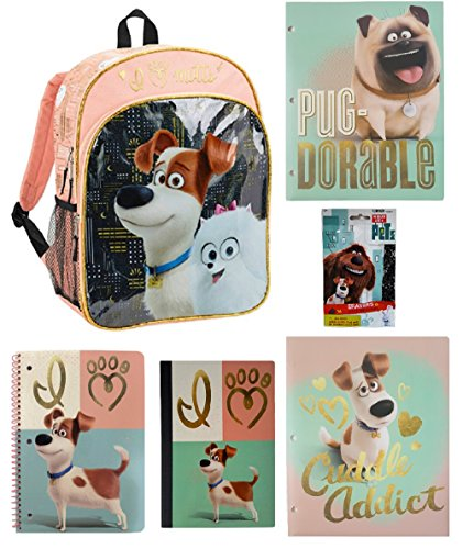 Secret Life of Pets School Bundle of 6 - Backpack, 2 Folders, Notebook, Comp Book & 2 Erasers