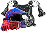 Kids Youth Offroad Helmet Gloves Goggles Chest Protector GEAR COMBO Motocross ATV Dirt Bike - Blue Spiderman ( XL )