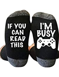 """GMSP Novelty Long Ankle Socks Words Printed for Gamer Cotton, IF YOU CAN READ THIS Saying Rib Knit Warm Unisex 7.87"""""""