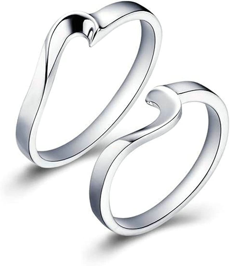 Rings Mens Womens Wedding Ring Band Heart Puzze Matching Rings Couples 4mm//5mm Gnzoe Jewelry Silver