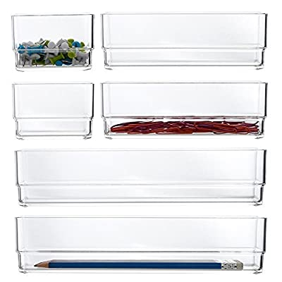 STORi Clear Plastic Vanity and Desk Drawer Organizers | 6 Piece Set - VERSATILE drawer organizers proudly made in USA Customize any drawer with 2 each: 3-inch by 3-inch, 6-inch by 3-inch, and 9-inch by 3-inch NESTING and sliding compartments The combination of sizes is JUST RIGHT for beauty products and office supplies - organizers, bathroom-accessories, bathroom - 51fmvGTHIgL. SS400  -