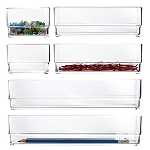 STORi Clear Plastic Vanity and Desk Drawer Organizers | 6 Piece Set ()