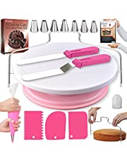 RFAQK 35 PCs Cake Turntable and Cake Leveler-Rotating Cake Stand with Non slip pad-7 Piping Tips & 20 Bags-Straight & Offset Spatula-3 Scraper Set-EBook-Cake Decorating Set Kit & other Baking supplies