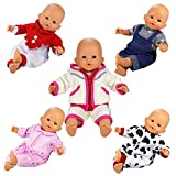 Barwa 5 Sets Cute Rompers Lovely Outfit Clothes for 36cm 14 inch Baby Doll
