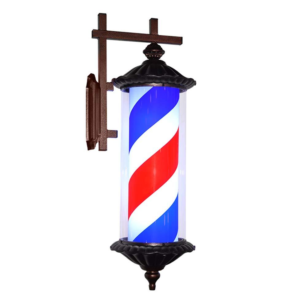 Poste De Barbero Rotación E Iiluminación Material De Tubo De PC Impermeable Al Aire Libre Luces LED 76Cm Rojo Blanco Y Azul Rayas, Black [Clase de eficiencia energética A] LuzGiratoria