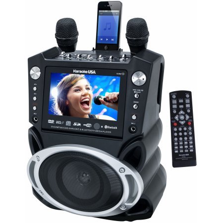 DVD/CD+G/MP3+G Bluetooth Karaoke System with 7'' TFT Color Screen and Record Function