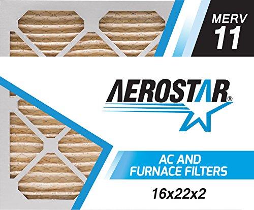 Aerostar 16x22x2 MERV 11, Pleated Air Filter, 16x22x2, Box of 6, Made in the USA by Aerostar