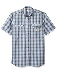 Carhartt Mens Force Ridgefield Plaid Short Sleeve Shirt Work Utility Button Down Shirt