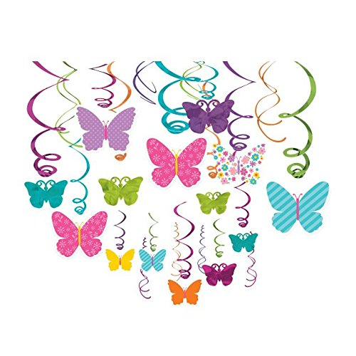 Party Hanging (Spring Swirls Party Mega Value Pack Decorations (30 Pieces), Multi Color, 17.5