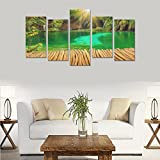 Unique Landscape Art Oil Painting Decoration Croatia Parks Lake Waterfall Custom 100% Canvas Material Canvas Print Bedroom Wall Art Living Room Mural Decoration 5 Piece Canvas painting (No Frame)
