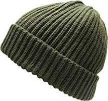KBW-507 OLV Ribbed Beanie Thick Cuffed Ski Hat Skully Winter Cap