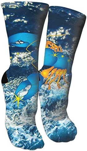 Crew Socks Cancer Zodiac Blue Pattern Custom Personalized Photo Crew Socks With Picture For Men Women Casual