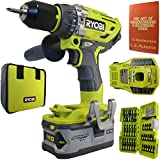 Ryobi P1813 18-Volt ONE+ Brushless Hammer Drill Kit Bundle with 34 Piece Impact Driving Kit and Woodworking Book