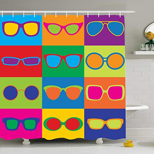 Ahawoso Shower Curtain Set with Hooks 72x78 Design Used Popart Vintage Styled Generic Eyeglass Frame Beauty Fashion Optic Textures Textile 70S Waterproof Polyester Fabric Bath Decor for Bathroom