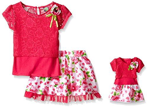 Dollie & Me Big Girls' L:ace Layered Top with Shantung Floral Printed Skirt, Fuchsia/Multi, 8