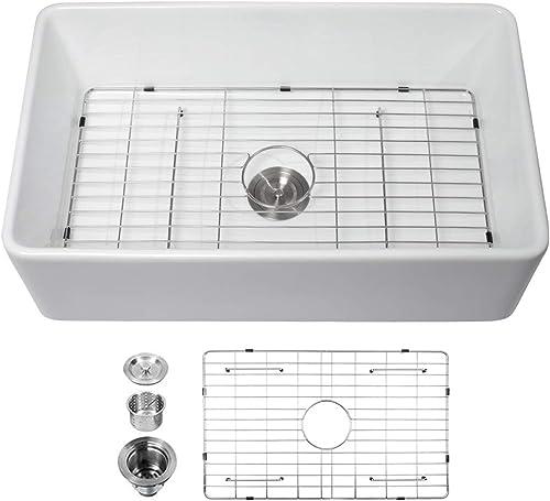 33 inch Farmhouse Sink – Logmey 33 Inch Farmhouse Kitchen Sink Apron-Front White Ceramic Porcelain Vitreous Fireclay Deep Single Bowl Farm Kitchen Sinks