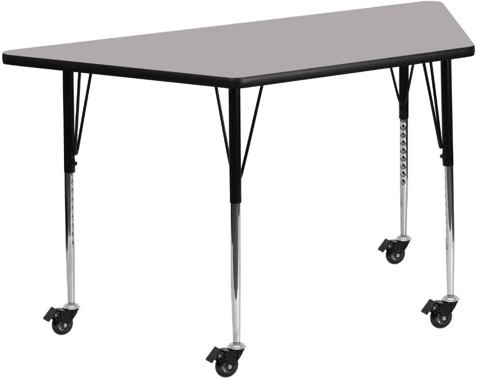 Flash Furniture Mobile 25''W x 45''L Trapezoid Grey HP Laminate Activity Table - Standard Height Adjustable Legs