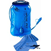 Spider Pro Bladder Water Reservoir: 2L/70 Oz Blue Bag with Large Opening and 3.3 Foot Tube Fits All Hydration Backpacks. Plus FREE BONUS Microfiber Sports Towel