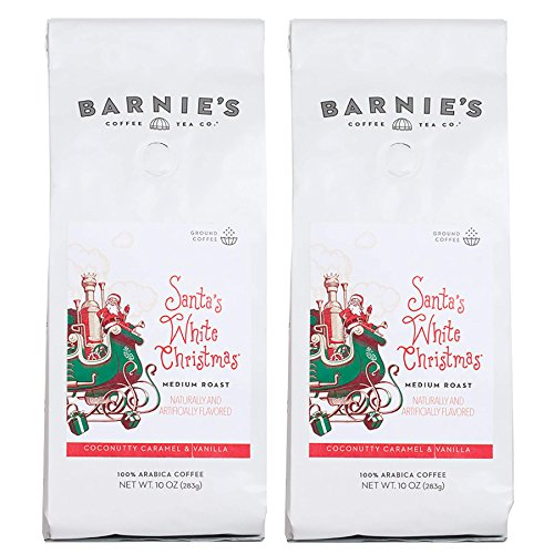 - Barnie's Santa's White Christmas Ground Coffee | Coconut, Caramel and Vanilla Flavored Coffee | Nut Free, Gluten Free, Fat Free | Medium Roasted Arabica Coffee Beans | 2-Pack