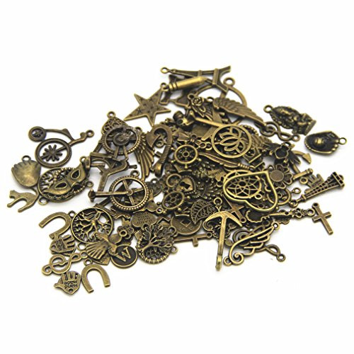 IBS Wholesale 120 Gram in Bulk Mixed Antique Bronze Necklace Pendants Bracelet Charms for DIY Crafting and Beading & Jewelry -