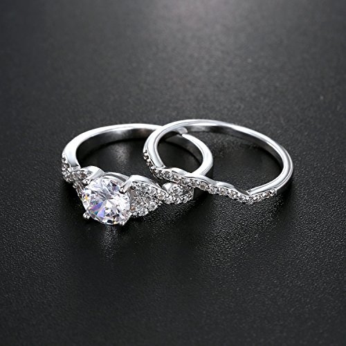 Diamond Cut Infinity Band Rings - Round Radiant Cubic Zirconia Women Wedding Band Ring Set Size 6-9 (11) by Hiyong (Image #6)