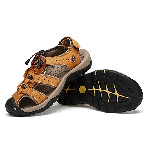 ZHShiny Summer Sports Sandals Outdoor Men's Beach Shoes Leather Casual Fisherman Shoe Korean Breathable Water Sandal Light Brown US9.5=EU44 (Outdoor Fishermans Light)